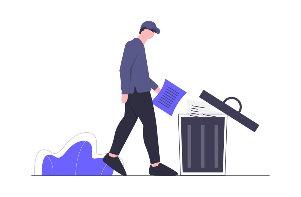 ゴミ箱へ捨てる